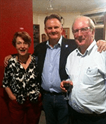 Anti-nuclear campaigner and Bermagui local Dr Helen Caldicott with guest speaker Mark Latham and Geoff Steele at the dinner.